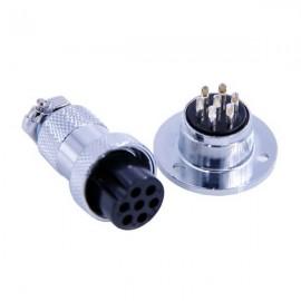 法兰安装连接器GX20直式接线式母插头圆形法兰式公插座7芯