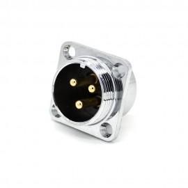 航空插座三芯 GX20四孔方法兰连接器