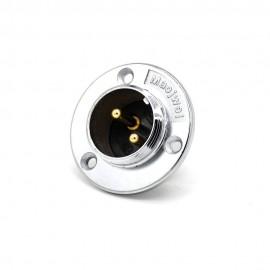 2芯航空插座 GX20公头插座 三孔圆形法兰连接器