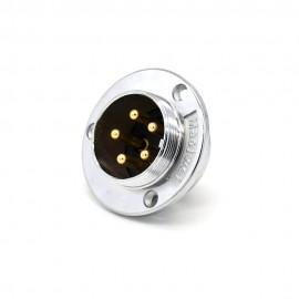 航空插座接线GX30 5芯直式圆盘法兰安装焊杯公头连接器