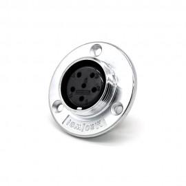 6芯航空插座GX30直式反装圆盘法兰安装焊杯公头接线连接器