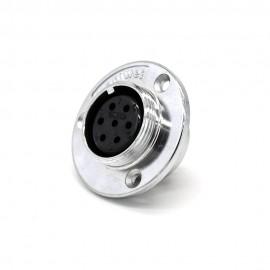 插座反装GX30 7芯直式圆盘法兰安装焊杯公头接线航空连接器