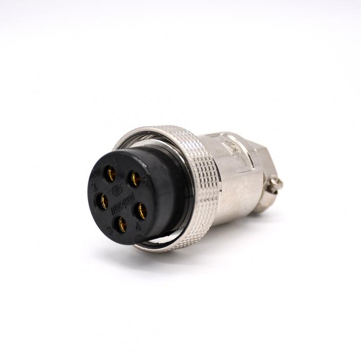 5芯航空插头GX35 直式金属外壳电缆母插头接线连接器