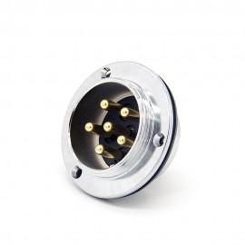 航空插座5芯GX40直式公插座3孔法兰面板安装连接器