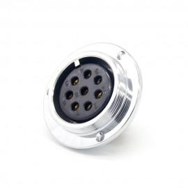 8芯航空插座GX48直式反装母插座圆盘法兰安装