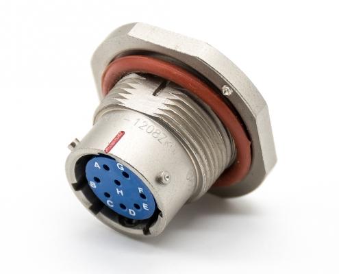 航空接头连接器12壳体号8芯直式母插座前锁穿墙焊杯镀镍卡口连接Y50EX防水连接器
