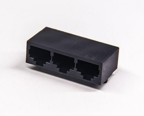 rj45接插件1x3网络端口母座弯式插PCB板不带屏蔽不带灯不带滤波