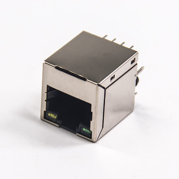 RJ45接插件8p8c带屏蔽单口带灯模块化连接器