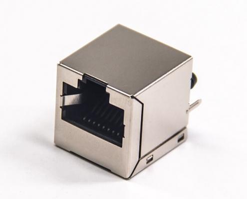 RJ45母接插件带屏蔽插座8p8c单口直式插pcb板