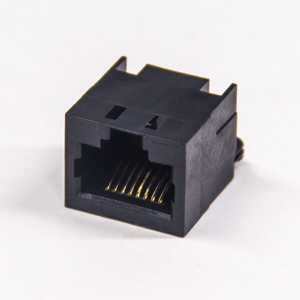 rj45接插件8p8c非屏蔽式黑色穿孔式插PCB板rj45母座
