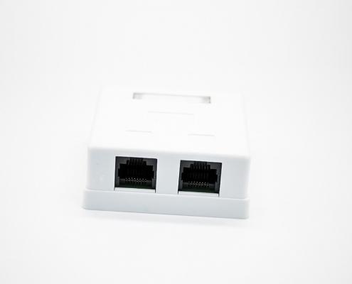 RJ45插座双口8P8C非屏蔽PCB板安装CAT6桌面网络接口