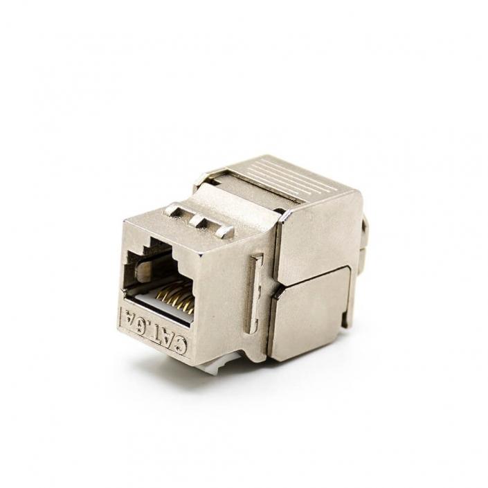 6类RJ45插座模块带屏蔽180度8芯单端口网络免打模块