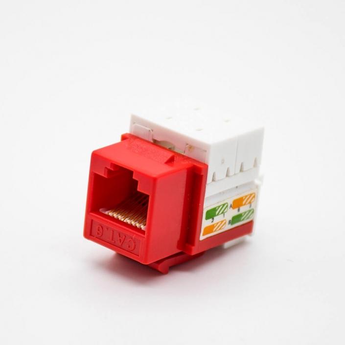 非屏蔽RJ45插座90度弯式插孔面板安装六类红色网络模块