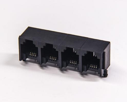 rj126p4c以太网连接器穿孔式弯角单层联体全塑插座