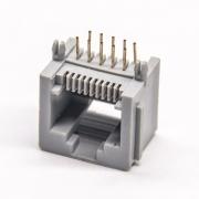 rj50连接器弯式插PCB板10p10c全塑外壳连接器