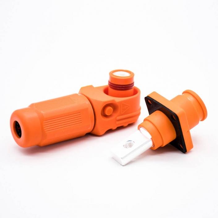 新能源储能连接器IP65防水弯式插头插座12mm橙色300A铜牌带孔插座