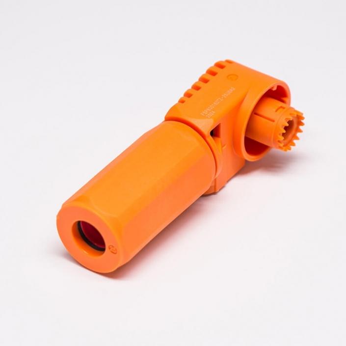 储能电池连接器6mm橙色125A带孔铜牌IP67防水弯式插头插座