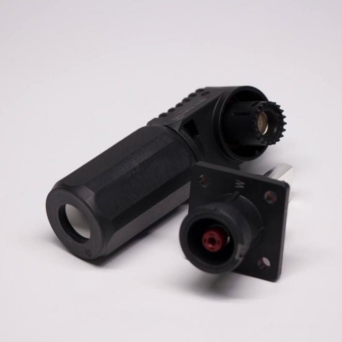 大电流防水连接器150A弯式插头插座8mm黑色储能连接器