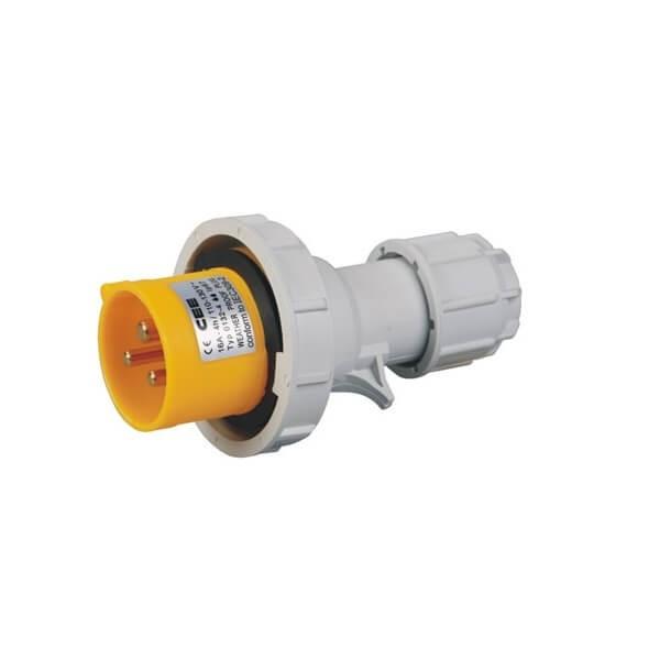 CEE两相IEC16A3芯两相IP44防水工业插头