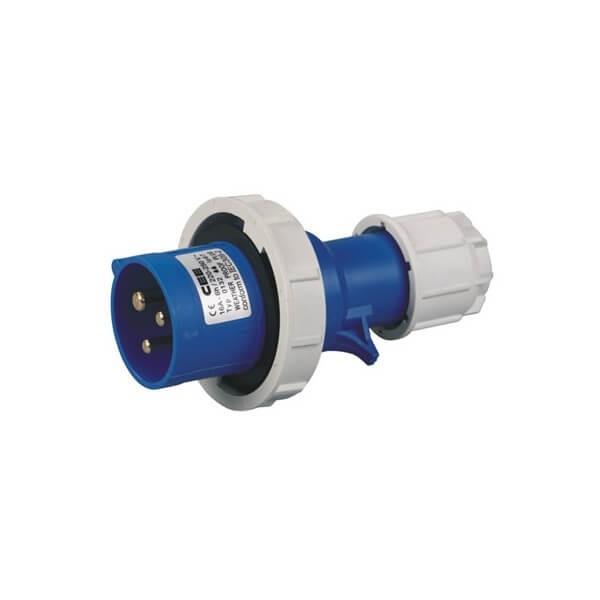 CEE防水蓝色16A3芯两相IP44工业插头