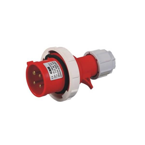 工业插头防水红色4芯32AIP67防水3相415V