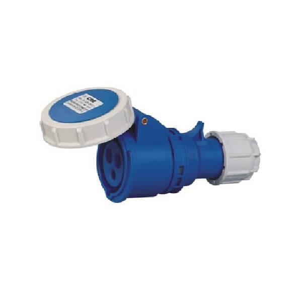 工业连接器插头16A3芯蓝色室外可移动插座