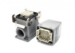重载工业连接器H6T16芯镀银螺纹M32公母对接加高型表面安装高结构顶出口